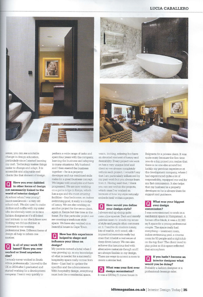 INTERIOR DESIGN TODAY - COVER SHOT - JANUARY 2013 3